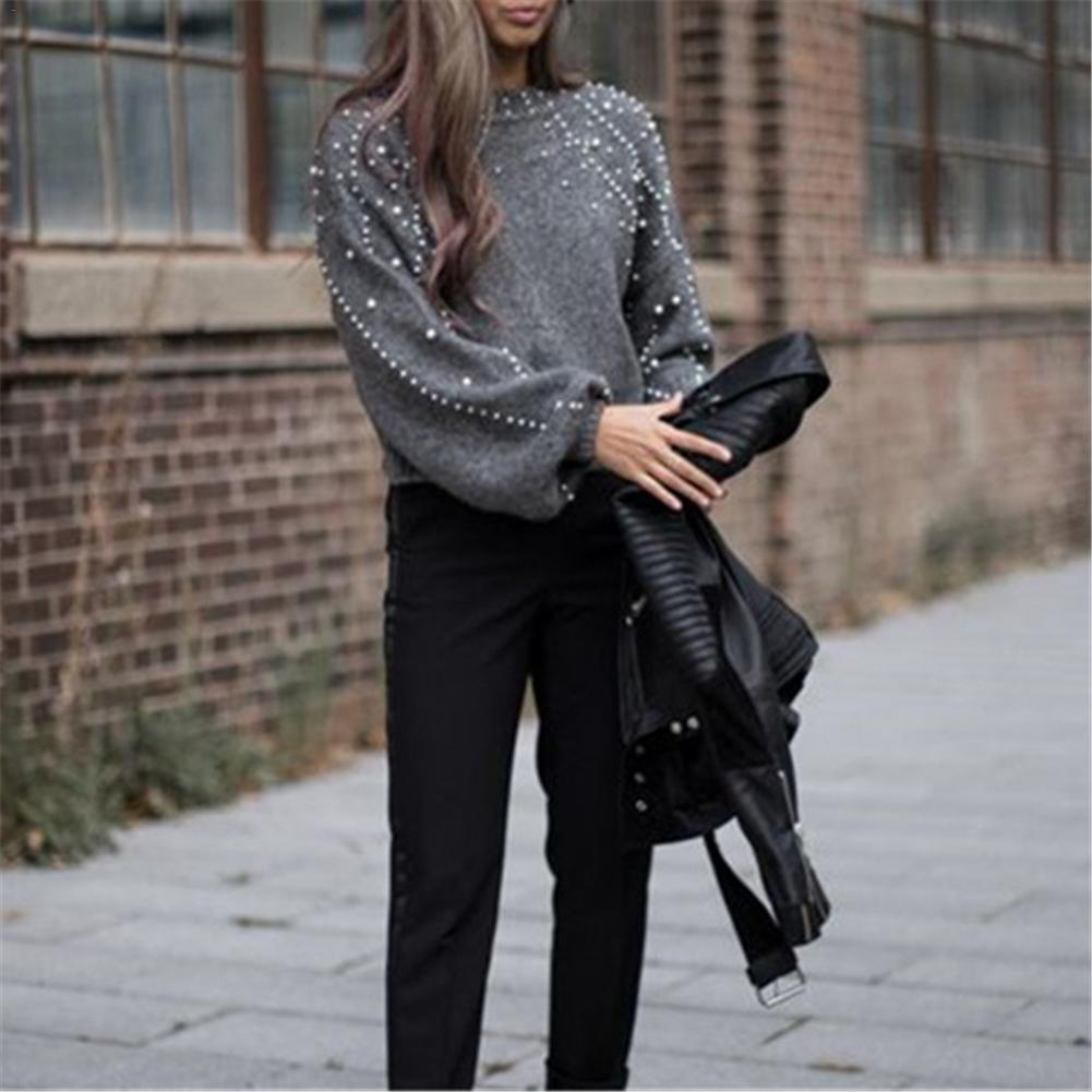 2018 New Pearl Turtleneck Winter Knitted Sweater Women Lantern Sleeve Loose Gray Pullover Female Soft Warm Autumn Casual Jumper