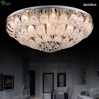 Modern Peacock Style Remote Controller Led Ceiling Light Luxury Lustre K9 Cristal Plate Chrome Steel Glass