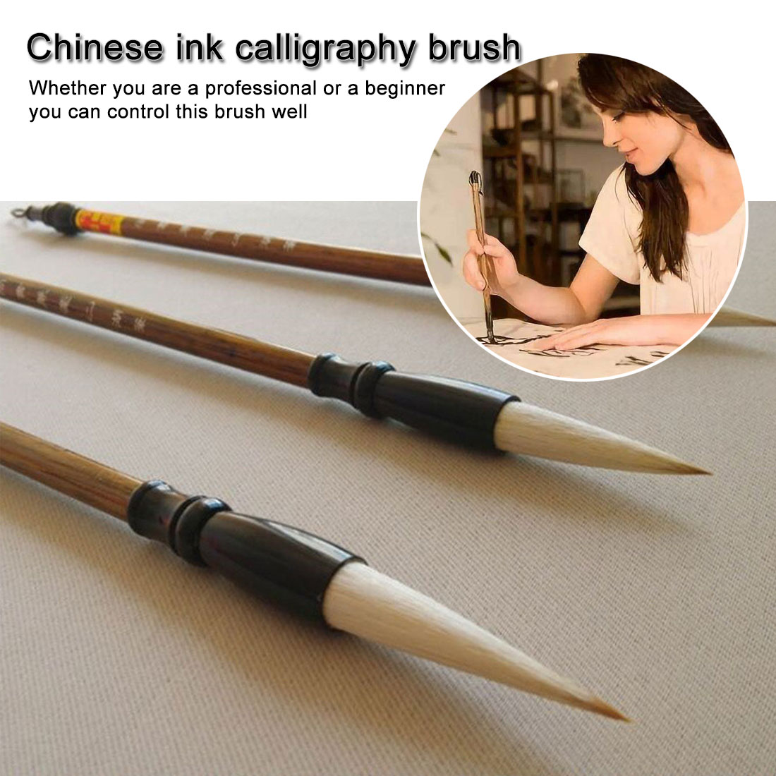 3pcs/set Excellent Quality Chinese Calligraphy Brushes Pen For Woolen And Weasel Hair Writing Brush Fit For Student School