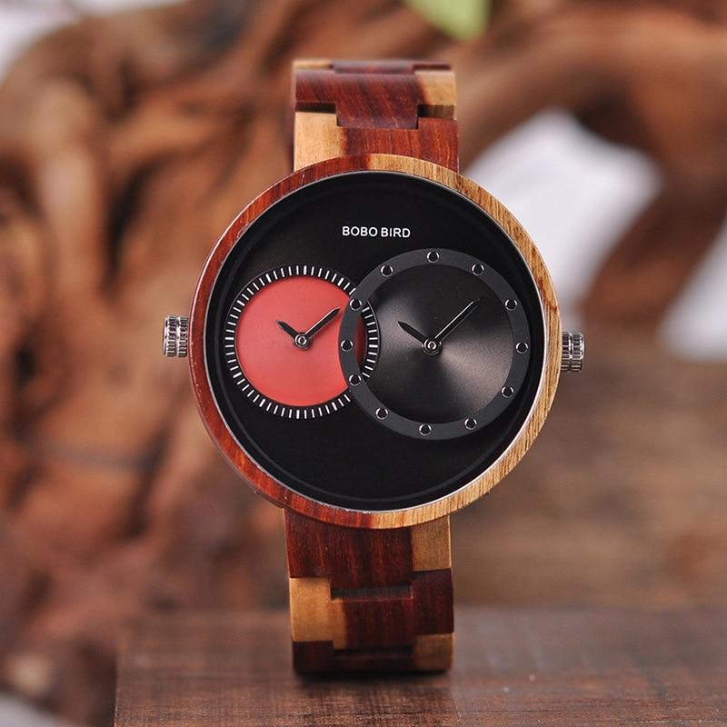 relogio masculino BOBO BIRD Watch Men 2 Time Zone Wooden Quartz Watches Women Design Men's Gift Wristwatches In Wooden Box W-R10 13