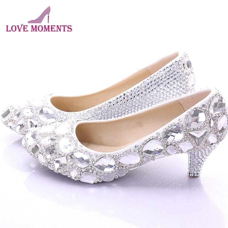 fe9b72ca4 أحذية الربيع أحدث العروسة rhinstone كريستال أحذية الزفاف حفلة موسيقية  الأحذية منتصف كعب أنيقة الدة العروس أحذية