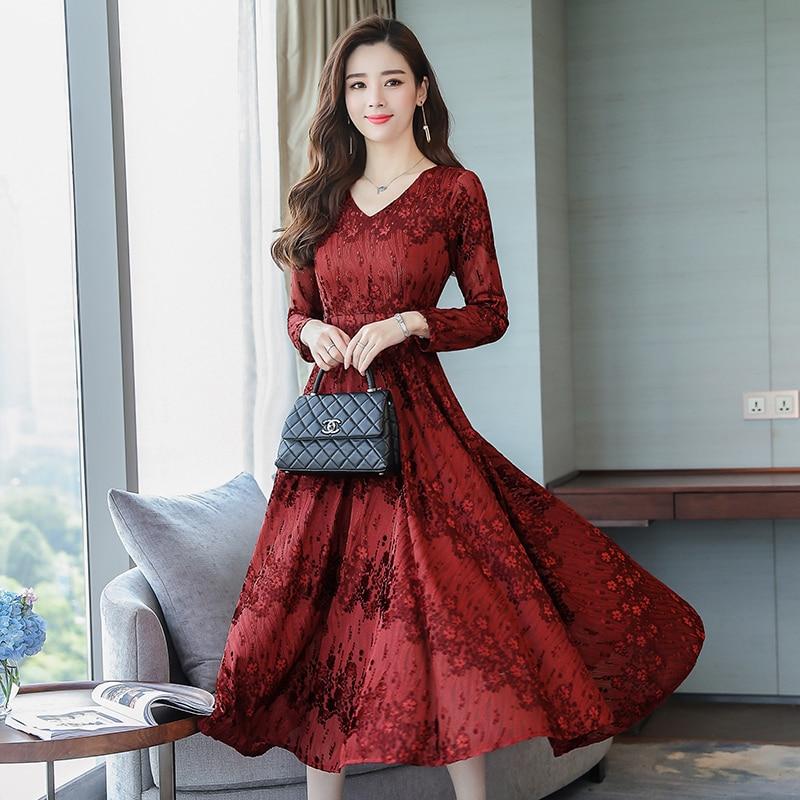 fb6159f18 Más tamaño 2018 otoño mujeres vestido de alta calidad de manga completa v- cuello Jacquard