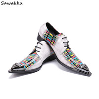 Lace Up Elegant Dress Men Shoes Leather Python Skin Print White Oxford Shoes Pointy Boss Men Wedding Party Groom Shoes Size 47