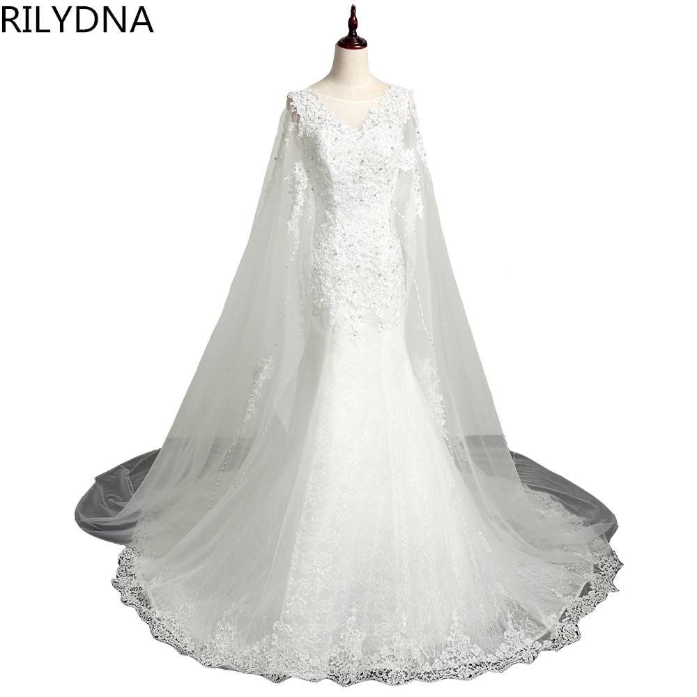 Poceni poročna obleka čipke 2017 Mermaid poročne obleke Romantična obleka neveste po meri modnih Vestidos De Noiva Em Renda