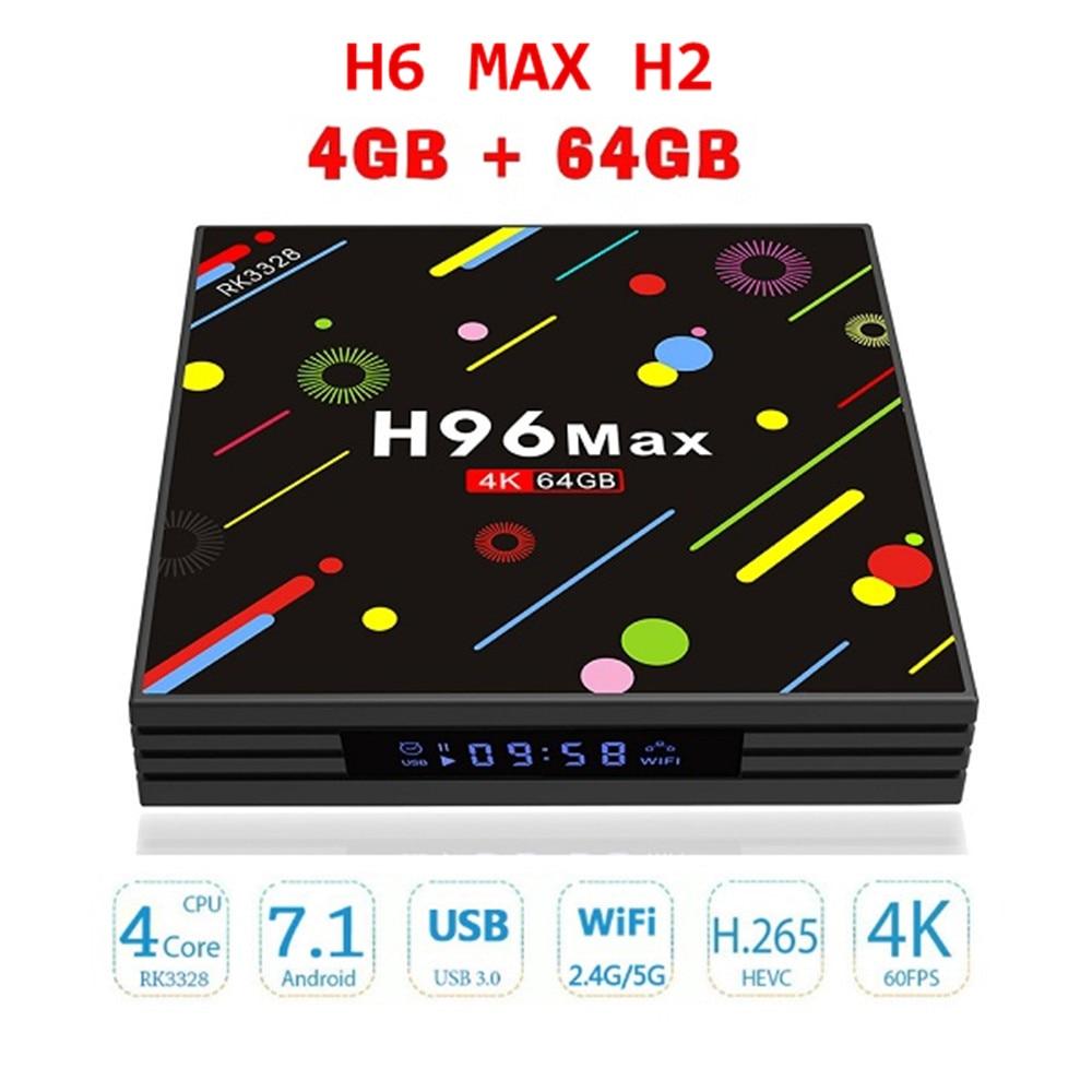 H96 MAX H2 Bluetooth Android 7.1 TV Box 2.4G 5G WiFi 4K HDR10 Media Player 4G 64G RK3328 Quad Core USB 3.0 Mircast Set Top Box цены