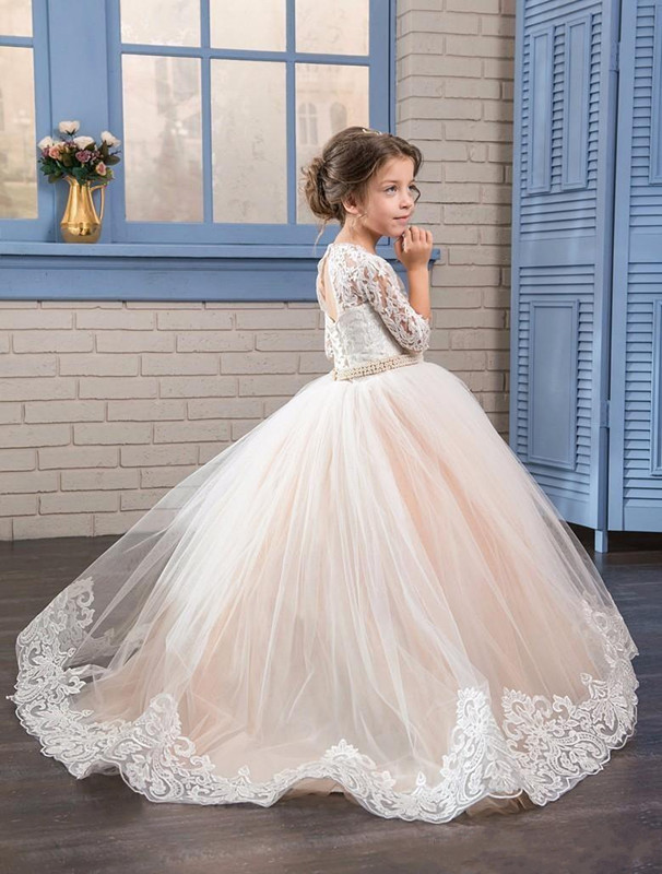 Sweet For Little Girls Birthday Party First Communication Gown Floor Length Half Sleeves White Lace Flower Girls Dresses Custom кофточка quelle laura scott 849906
