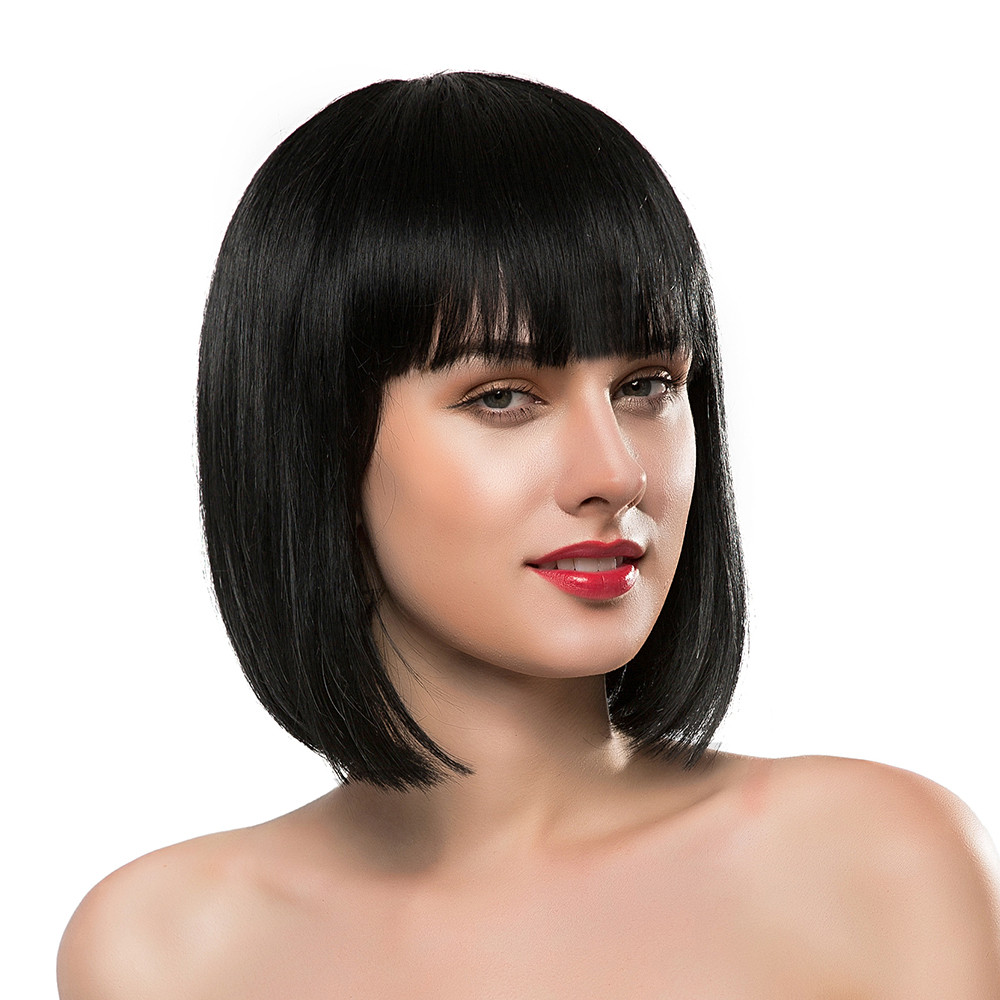 BLONDE UNICORN 10 Inch Bob Wig with Bangs Medium Length Straight Hair Natural Black Blend Wigs for Women Free Shipping 4 Colors