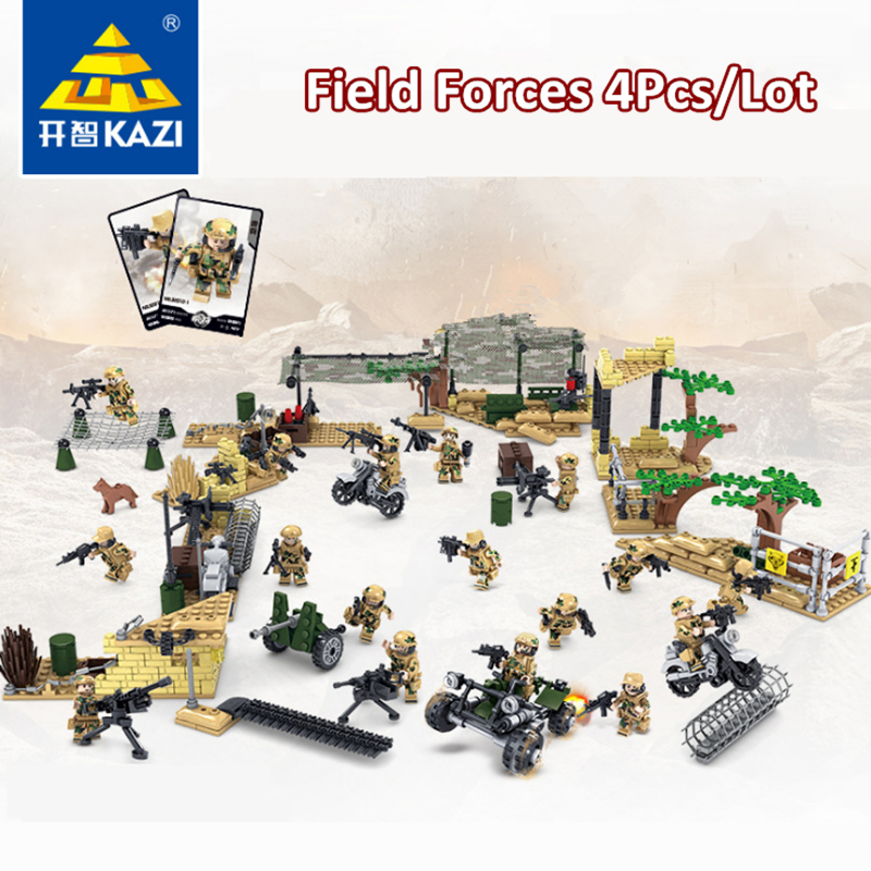 2017 KAZI Military War Building Blocks Field Army Forces Kids Game Educational Toys Set DIY Bricks Compatible with Lego military star wars spaceship aircraft carrier helicopter tank war diy building blocks sets educational kids toys gifts legolieds