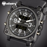 INFANTRY Men Multi Function Sports Watches Square Face Dual Time Zones Display Rubber Strap Stop Watch