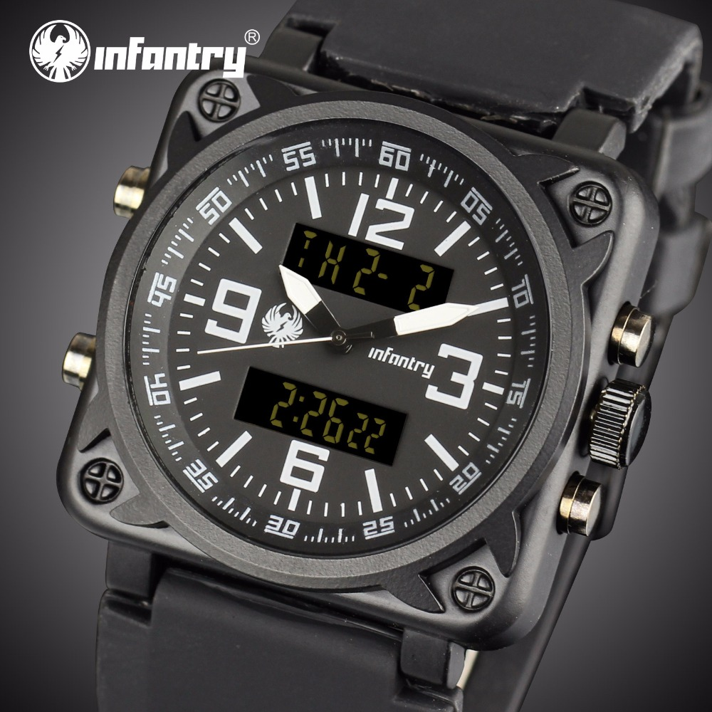 INFANTRY Mens Watches Top Brand Luxury Square Military Watch Men Analog Digital Sport Wristatch Army Aviator Relogio Masculino