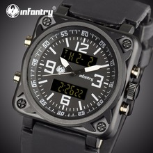 INFANTRY Men Multifunktionella Sportklockor Square Face Dual Time Zones Display Gummi Rem Stop Watch Relogio Masculino
