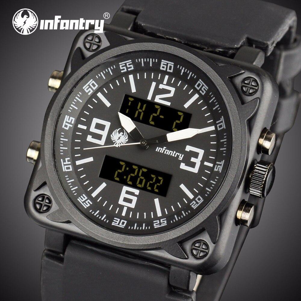 Piechoty męskie zegarki Top marka luksusowy zegarek wojskowy mężczyźni Aviator analogowe cyfrowe zegarki dla mężczyzn Army Square Relogio Masculino