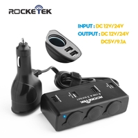 Rocketek usb car-charger Smart IC 6 USB 9.1A car Sockets Cigarette Adapter Splitter, car charger for ipad iphone 5 5s 6 6s