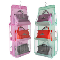 High Quality 6 And 4 Pouch Multifun Transparent PVC Double Face Hanging Storage Bag For Bag