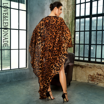 LOVE&LEMONADE  Deep V-Neck Open Back Cloak Style Leopard Chiffon Playsuit LM81381 6