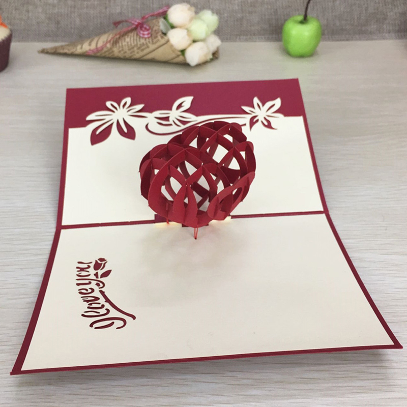 1pcs Sample Red Heart 3D Laser Cut Paper Cutting Greeting Pop Up Card Wedding Ivitation Custom Postcards VValentine's Day Gifts (5)