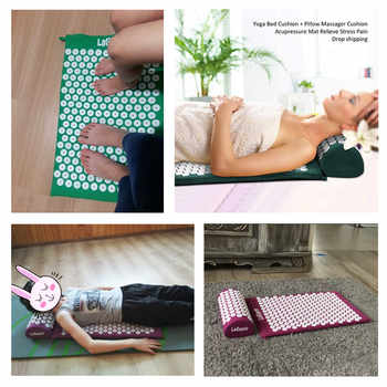 Body Massage Rose Mat Acupressure Relieve Stress Back Body Pain Spike Mat Acupuncture Massage Yoga Mat with Pillow Massager