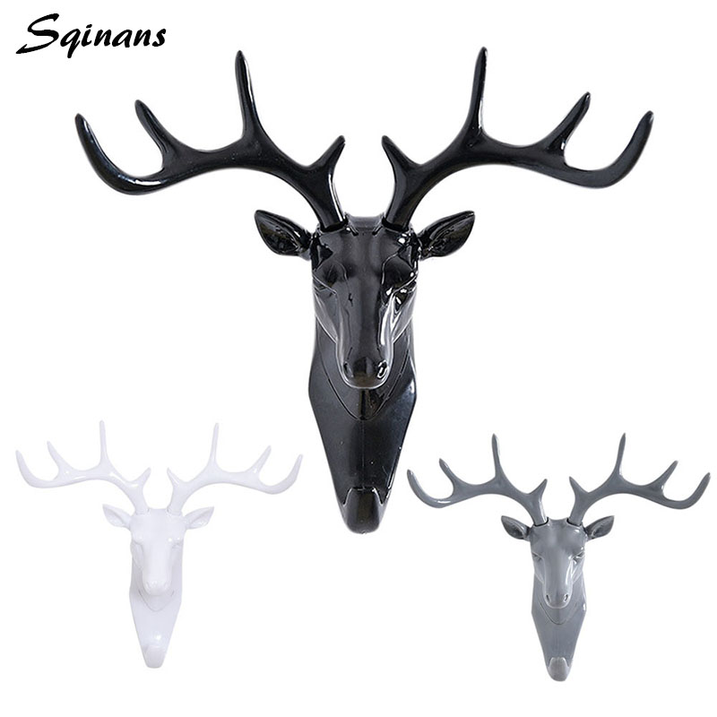 Sqinans Deer Head Antlers 3D Key Storage Holder Rack Plastic Key Holder Wall Hook Clothes Hanger Hat/Bag/Scarf/Decorative Hooks