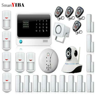 SmartYIBA GSM&SMS&WIFI Alarm Home Burglar Security System+Camera Protection Smoke Detector Fire Alarm+Infrared IP Motion Alarm