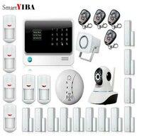 Smartyiba GSM & SMS и WI FI дома сигнализация безопасности Системы + Камера защиты детектор дыма пожарной сигнализации + инфракрасный IP движения сигна
