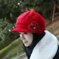 2014 2015 Women Fashion Flower Style Visors Hats Winter Warm Hats Rabbit Hair Caps Cute Decoration