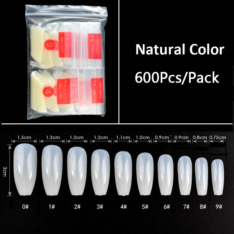 600 pcs/pack Balerina Nail Art Tipsy False Nails Decoration Acrylic ...