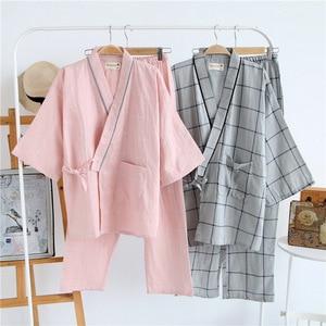 Image 5 - Letnie męskie i damskie 100% bawełna gaza piżamy ustawia Retro dekolt Pijama Kimono garnitur para bielizna nocna nocna odzież domowa