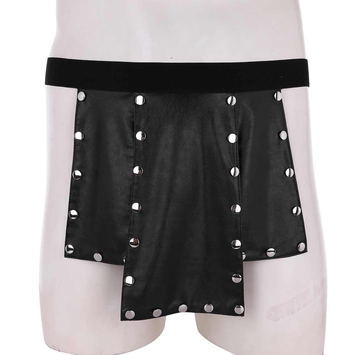 b1823c15e70 iiniim Sexy Mens Lingerie Novelty Scotland Style Gay Panties 6 Panel Faux  Leather Low Rise Metal Studded Kilt Underwear Skirt