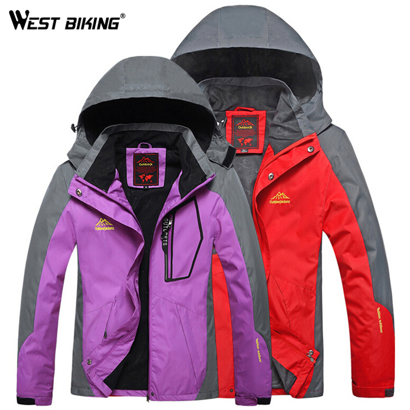WEST BIKING Waterproof Windproof Hooded Jacket Warm Plus Size Outdoor Sport Jackets Cycling Hiking Climbing Winter Couple Jacket 2017 camel outdoor windproof waterproof couple jacket light breathable quick dry hooded skin clothing spring summer jacket