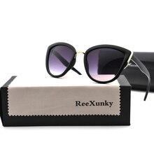 Fashion Vintage Sunglasses Women Sexy Cat eye Sunglass Retro Sun glasses Female Black Mirror Shade for Womens With Eyewear Bag