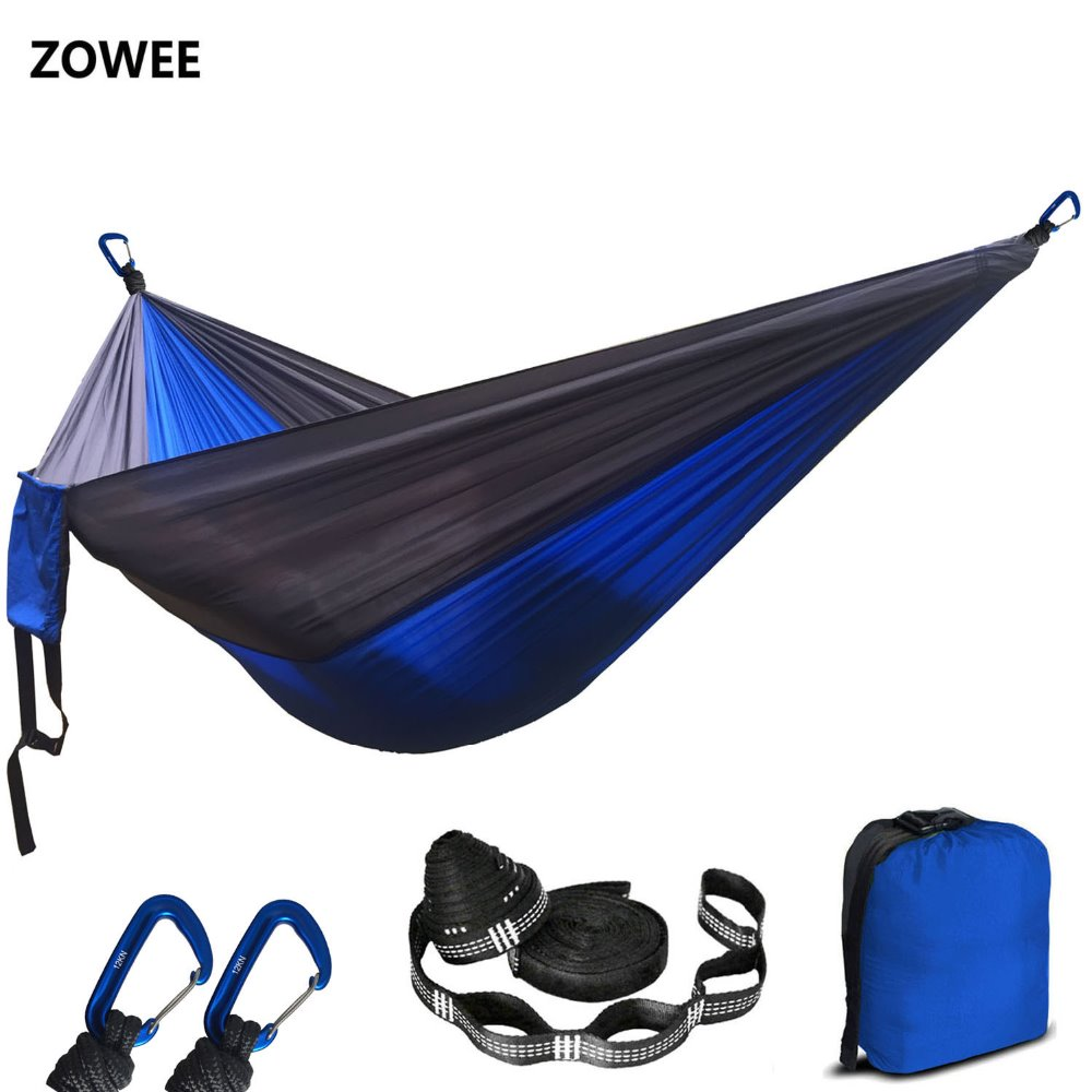 2019 Dropshipping Assorted Color Parachute Nylon Hammock Outdoor Camping Hammocks Double Person Portable Swing Hammock