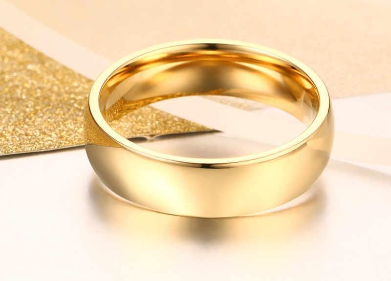 ZORCVENS 2020 Mới Thời Trang 6Mm Classic Nhẫn Cưới Cho Nam Nữ Vàng Bạc Màu Thép Không Gỉ Nhẫn Đính Hôn