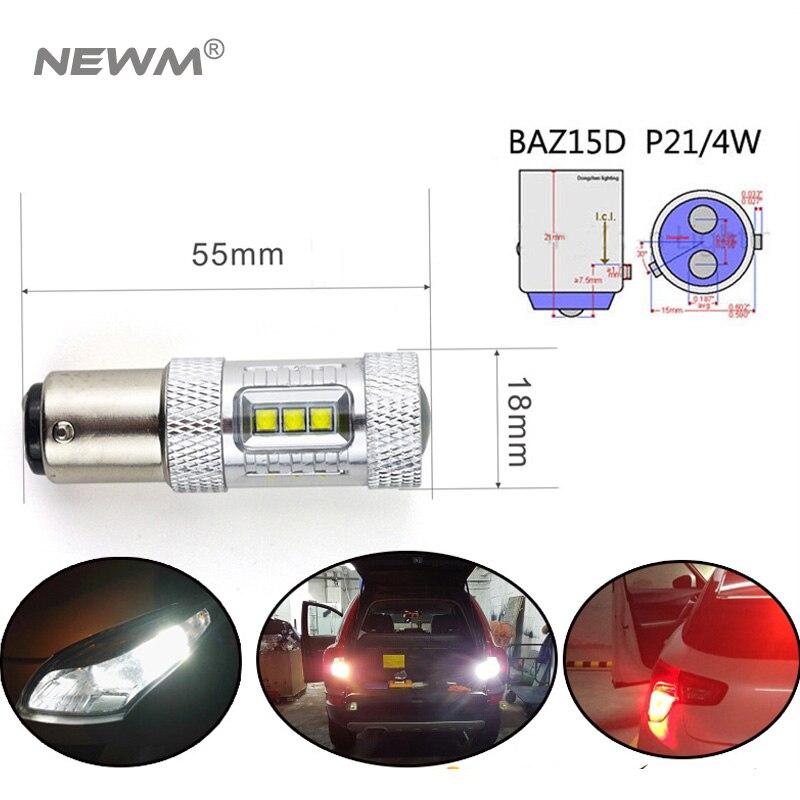 2x Auto LED 1157 BA15D BAZ15D BAY15D 30w/50w/80w White/Red/Yellow 12V P21/4W Car light Brake/Turn/Tail signal lamp bulb. 3157 3156 80w 900lm 16 led white car brake light steering backup lamp 12 24v