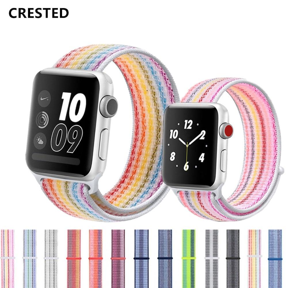 CRESTED Sport Schleife strap Für Apple Uhr band 4 42mm 44mm iwatch band 3 38mm/40mm correa Nylon handgelenk armband uhr Zubehör