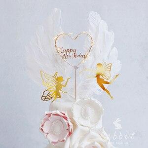 Image 3 - Chúc mừng Sinh Nhật Tiên Quốc Bánh Topper Ren Hoa Lưới Valentine Trang Trí Cho Trẻ Em Gái Dự Tiệc Cung Cấp Nướng Món Quà Dễ Thương