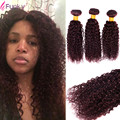Дешевые 7А Бразильский Вьющиеся Волосы 3 Пучки Человеческие Волосы 99J Бордовый Красное Вино Бразильский Пучки Волос Бразильский Странный вьющиеся Волосы