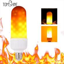Tomshine 4w LED Fire Effect Light Bulb new year Decorative Atmosphere flame Lamp bulb 2 Mode E27 E26 for Party Holiday Birthday(China)
