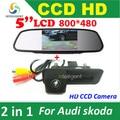 2 in 1 HD 5'' 800*480 Car Mirror Monitor + HD CCD car rear view Trunk handle Camera for Audi A1 for Skoda Octavia Fabia parking
