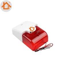 Мини Проводная Стробоскопическая сирена прочная 12 В Проводная звуковая сигнализация стробоскоп мигающий красный светильник звуковая сирена домашняя система охранной сигнализации 115 дБ