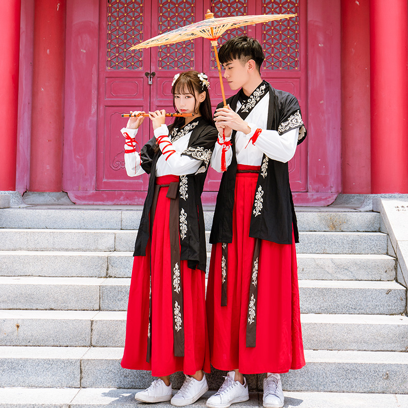 Embroidery Hanfu Folk Festival Outfit Classical Dance Costume Rave Fairy Dress Stage Performance Clothes 3 Pcs Set DF1178