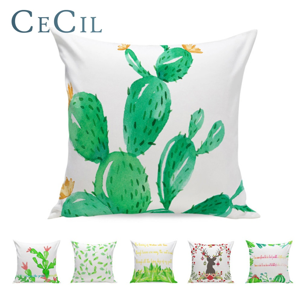 55*55cm Plants Cactus Pillow Cushion Cover Watercolor Cartoon Modern Minimalist Style Home Decoration Lumbar Pillowcase