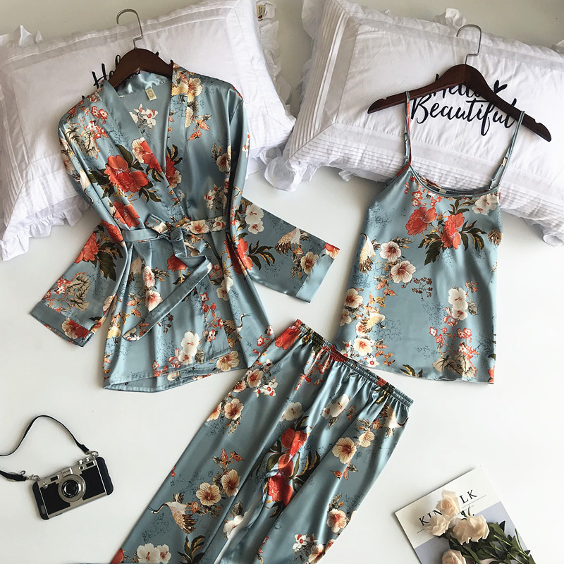 2019 New 3 PCS Women   Pajamas     Sets   Flower Print Nightwear with Pants Sexy Pyjama Satin Silk Negligee Sleepwear Pyjama