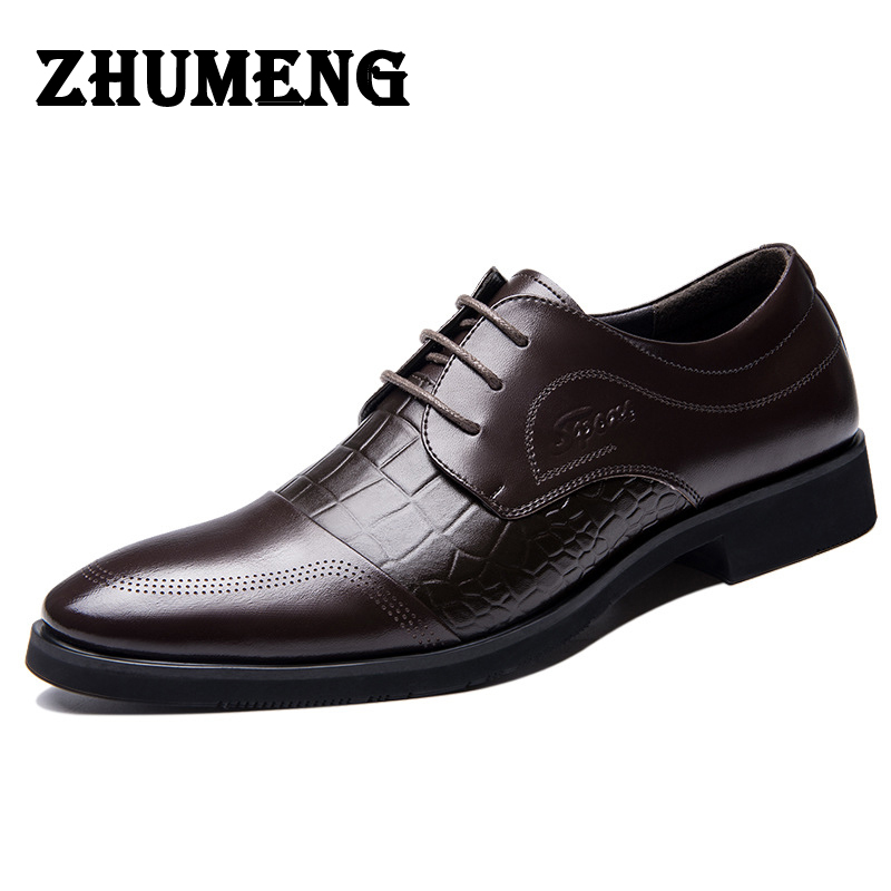 2017 Fashion Men Pointed Toe Flats Shoes Summer Autumn Luxury Brand Lace Up Formal Wedding Dress Shoes Italian Leather Shoes Men