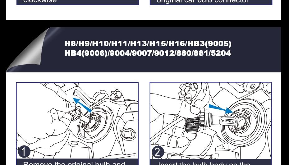 CNSUNNYLIGHT Car LED H4 Compact Headlight H7 H11 9005 HB3 9006 HB4 H1 Auto Bulbs 5500K Turbo Flip Led 8500lm H8 880 H27 Fog Lamp (22)
