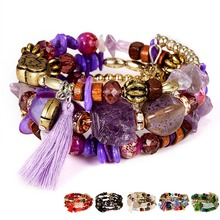 Ethnic Natural Stone Beads Bracelets For Women Tassel Charm Strand Bracelets & Bangles Boho Vintage Jewelry pulseras mujer 2018 new natural stone beads crown bracelet for women men couple jewelry stretch bead distance charm bracelets bangles pulseras
