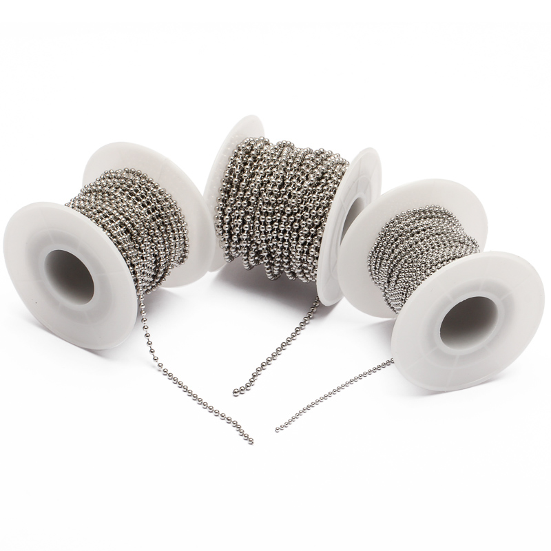 10m/Roll Dia 1.5mm 2mm 2.4mm Beaded Ball Stainless Steel Chain Bulk Jewelry Chains for DIY Necklaces Jewelry Making Supplies