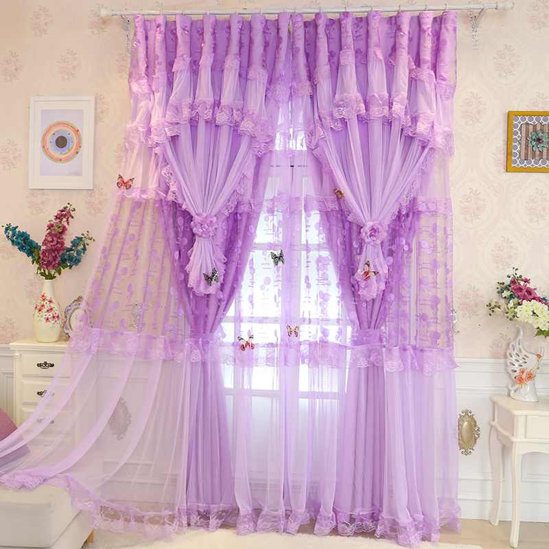 Senisaihon Embroidered Blackout Curtains Purple Lace Double Layer Tulle Curtains Luxury Polyester Cloth Curtain for Living Room