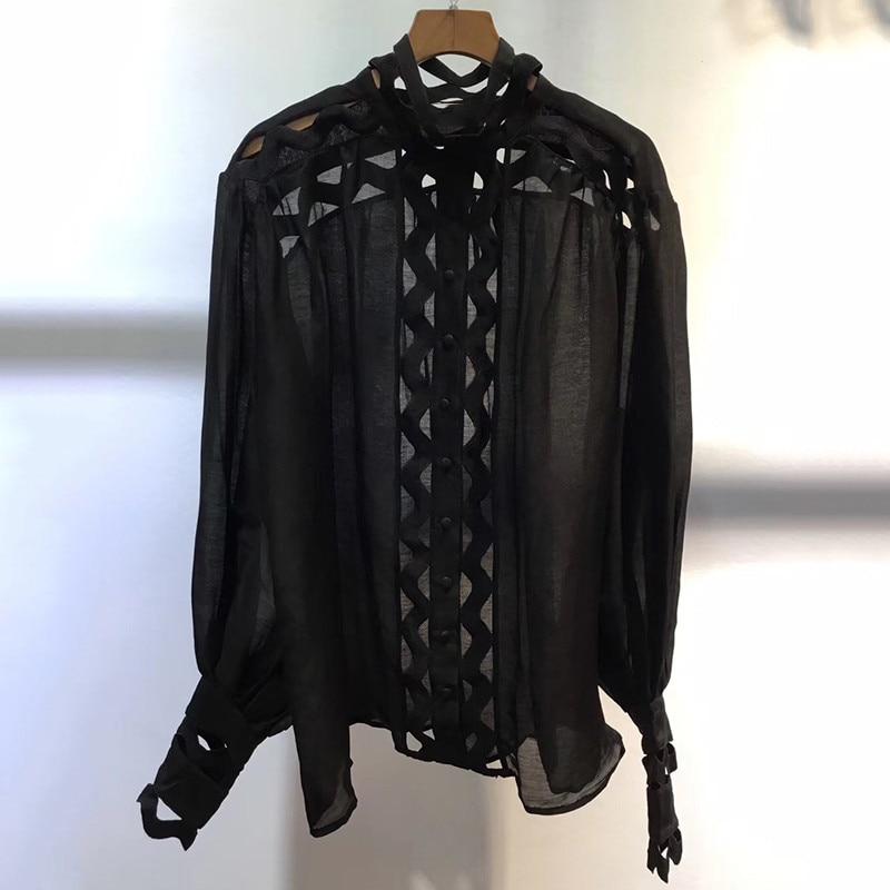 Solide Haut La Longues 2019 D'été Blouse Noir En Mode Top Évider Lin À Manches blanc Femmes Dame Élégante 7x61WqWP