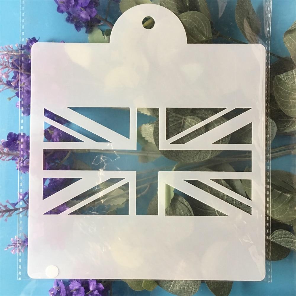 15cm UK United Kingdom National Flag DIY Layering Stencils Painting Scrapbook Coloring Embossing Album Decorative Template