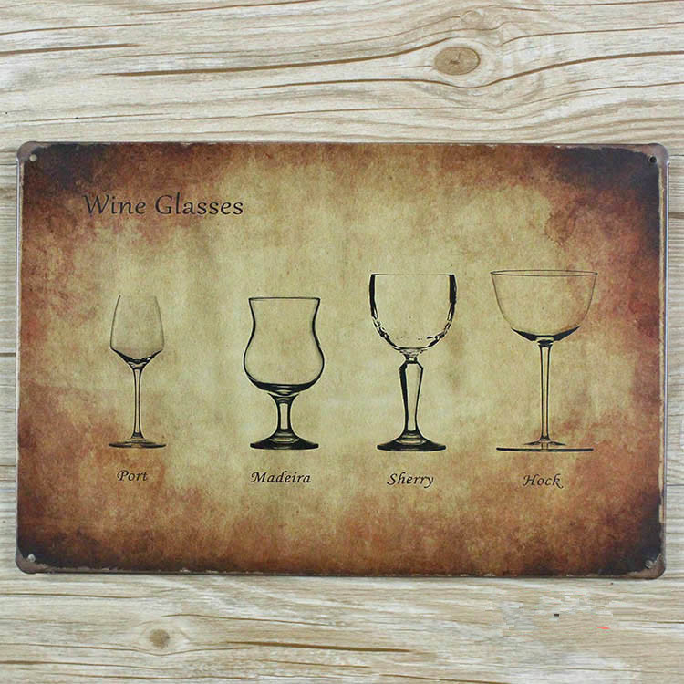 Retro wine glasses poster Vintage house bar cafe painting metal painting wall art crafts decoration plate hot sale 20*30 CM-in Painting u0026 Calligraphy from ... & Retro wine glasses poster Vintage house bar cafe painting metal ...